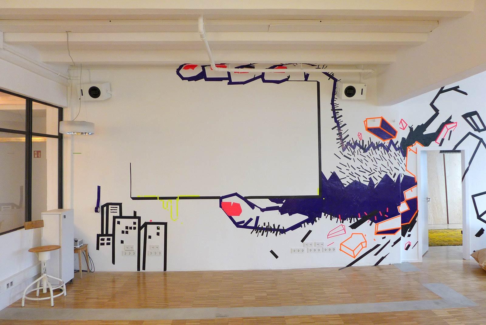 Tape-art - An der Wand malen mit buntem Klebeband