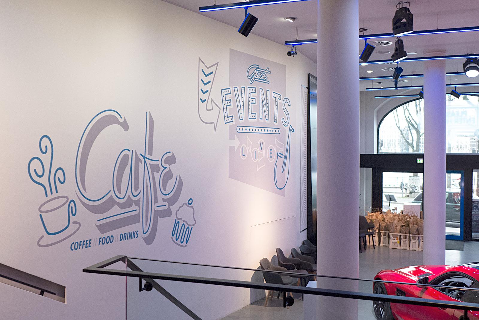 Wandgestaltung - Cafe und Events mercedes store hamburg