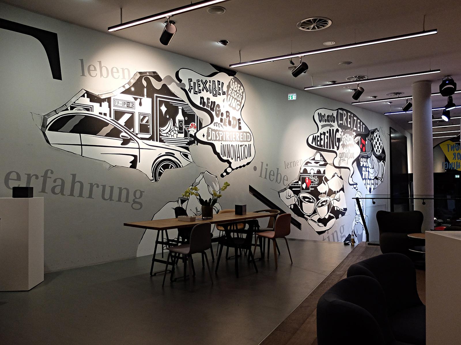 Wandgestaltung Hamburg Mercedes store