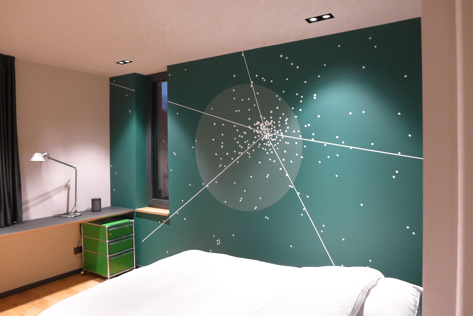 abstrakte Wandgestaltung Interior Design Schlafzimmer