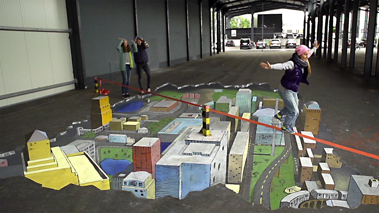 Street-art illusionsmalerei city werbekampagne