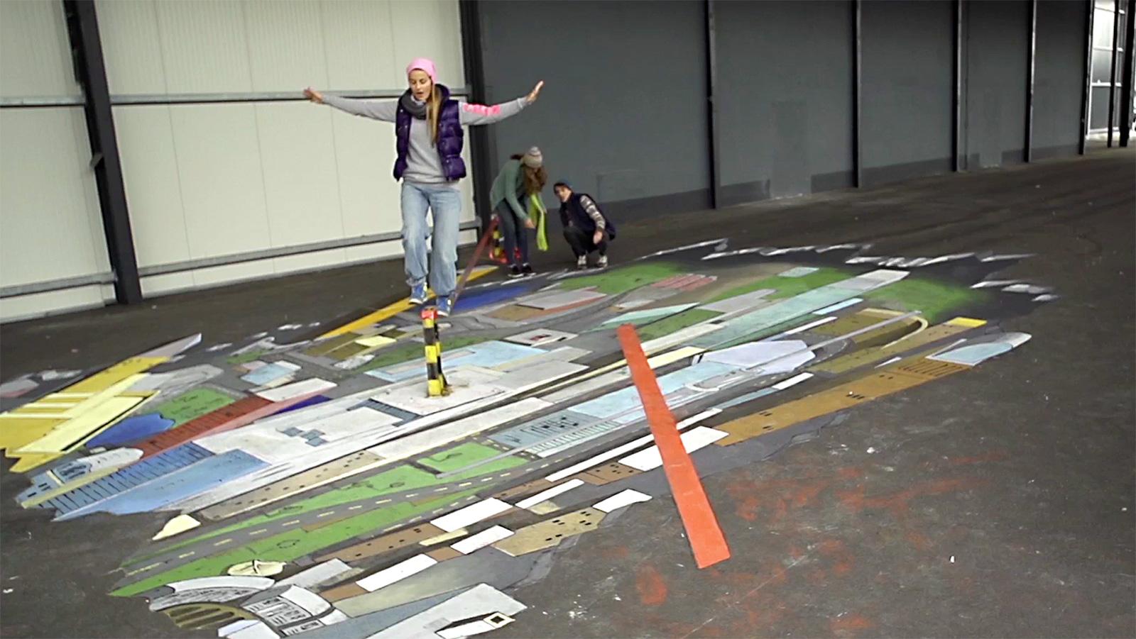 streetart Illusionsmalerei Anamorphose O2 Werbung
