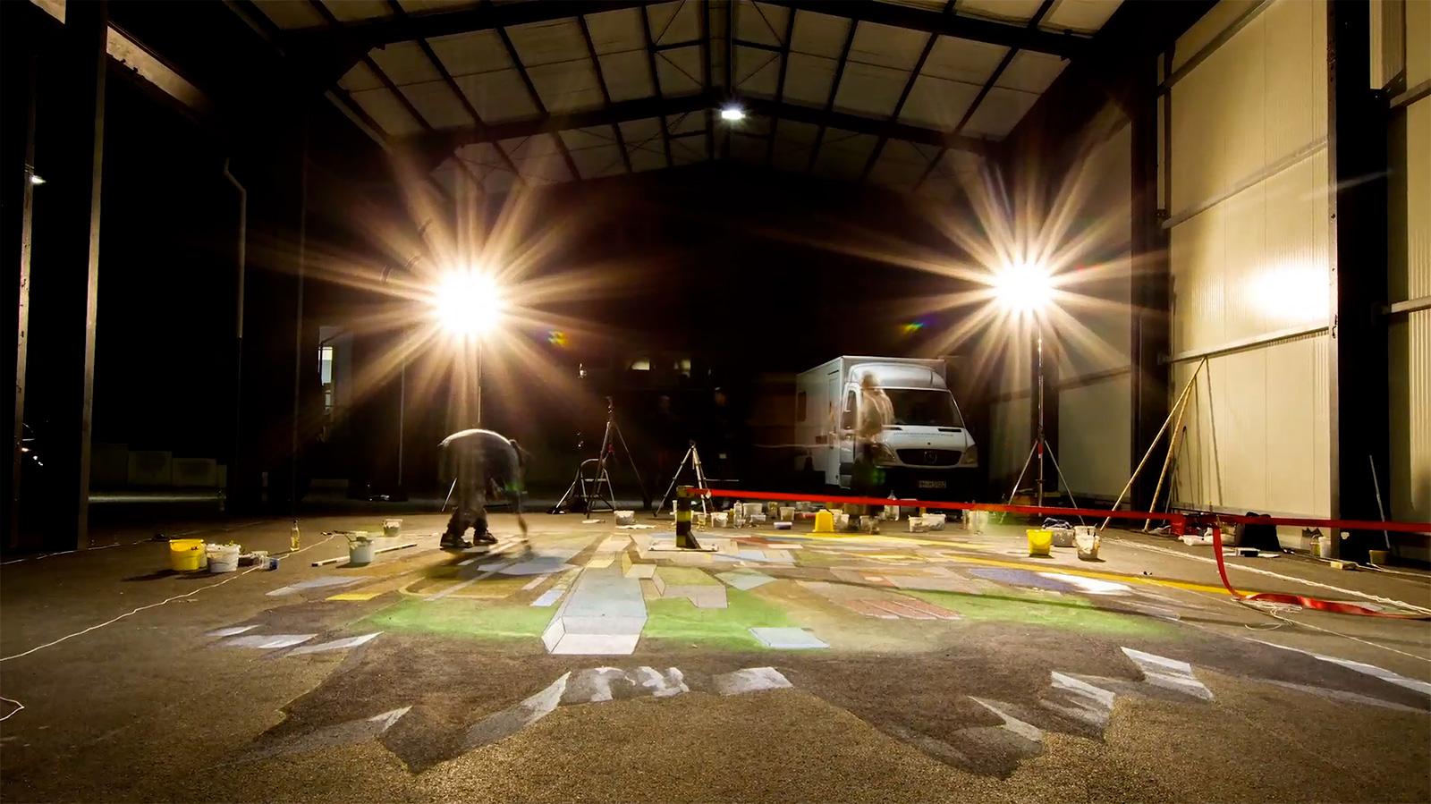Illusionsmalerei für die O2 Werbekampagne making of nightshift